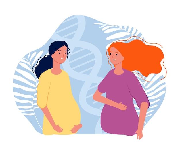 Moederschap. zwangere meisjes, blije toekomstige ouders. cartoon platte illustratie