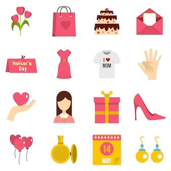 Moedersdag pictogrammen instellen in vlakke stijl