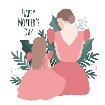 Moedersdagillustratie met moeder en dochtersilhouet en begroetingstekst