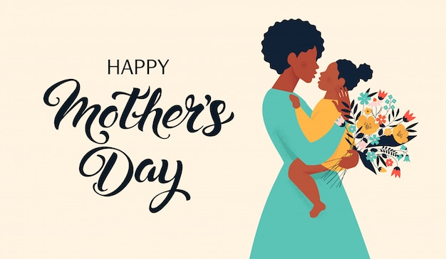 Moedersilhouet met haar baby. kaart van happy mothers day.