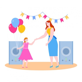 Moedertijd met dochter illustratie, cartoon lachende moeder en kind meisje karakters hebben plezier op feestje samen op wit