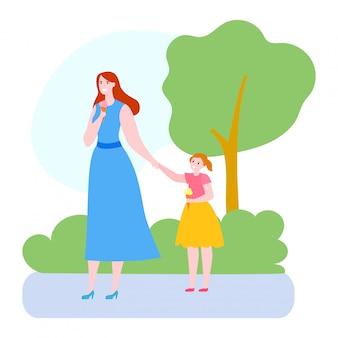 Moedertijd met dochter illustratie, cartoon moeder en kind meisje tekens lopen, eten van ijs op wit