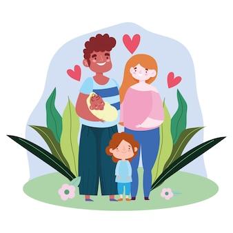 Moedervader met babydochter en bladerenontwerp