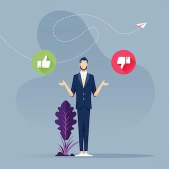 Moeilijke beslissing - zakenman met het ja of nee teken