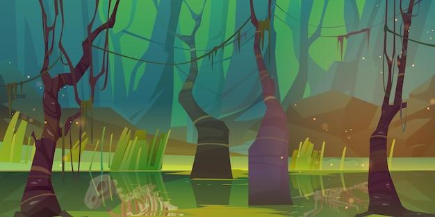 Moeras in bos met fossielen van dinosaurusskeletten