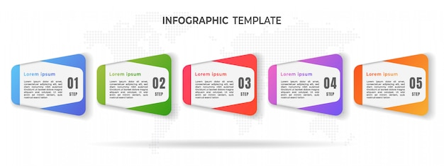 Moern timelline infographic opties of stap.