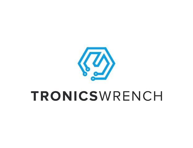 Moersleutel elektronisch voor technische industrie schets eenvoudig strak creatief geometrisch modern logo-ontwerp