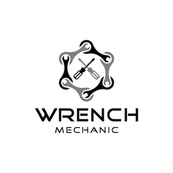 Moersleutel- en schroevendraaierteken voor inspiratie voor het ontwerpen van logo's voor mechanische reparatie