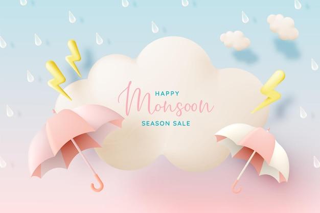 Moesson seizoen banner verkoop met pastel kleurenschema en papier kunststijl vectorillustratie