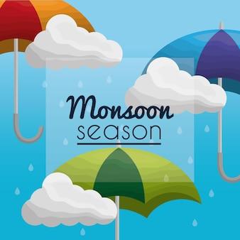Moesson seizoen regent paraplu's en wolken cumulus