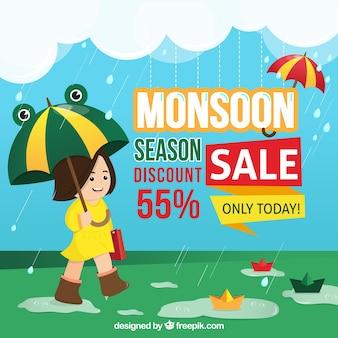 Moesson seizoen verkoop achtergrond