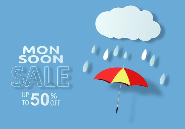 Moesson seizoen verkoop regen paraplu winkel vector