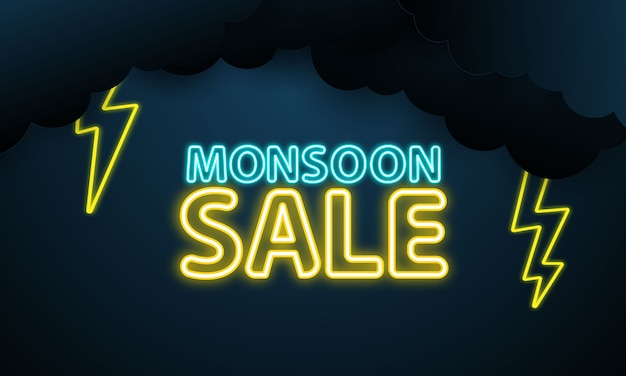 Moesson verkoop regenachtige seizoenhemel en bliksem,