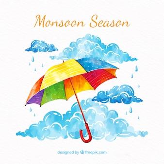 Moessonachtergrond met paraplu