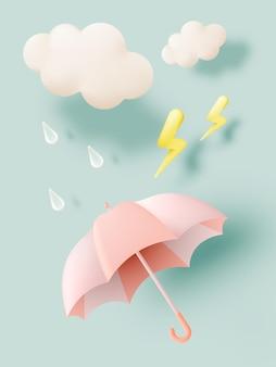 Moessonseizoenpictogrammen met paraplu-regendruppelwolk en verlichtingsflits in pastelkleurenschema.