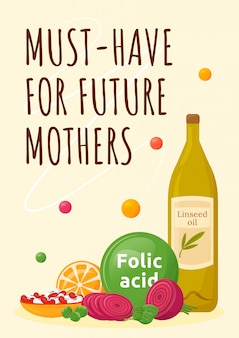 Moet hebben voor toekomstige moeders poster platte sjabloon