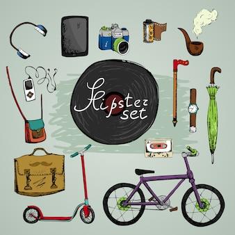 Moet hipster-elementen hebben: plaat camera koptelefoon fiets