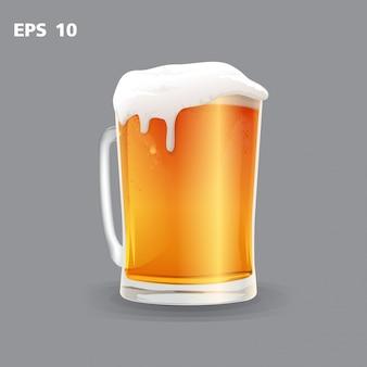 Mok bier op een grijze vector wordt geïsoleerd die als achtergrond
