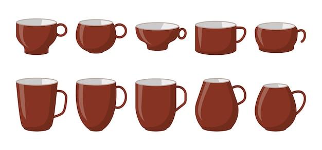 Mok bruin keramiek koffie of thee beker pictogrammenset plat verschillende vorm lege sjabloon. cartoon stijl