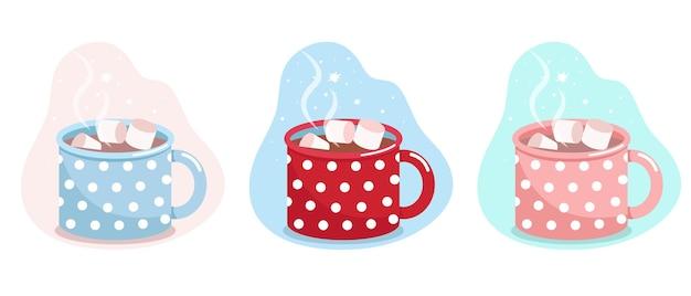 Mok met cacao en marshmallows blauwrode en roze mok in witte stippen vector vlakke afbeelding