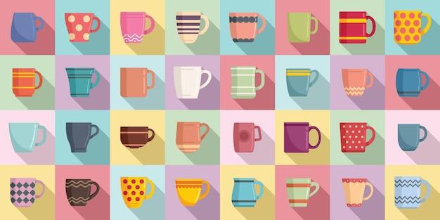 Mok pictogrammen instellen platte vector. koffiekop