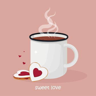 Mok warme chocolademelk of koffie met hartvormige koekjes met jam.