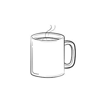 Mok warme drank hand getrokken schets doodle pictogram. koffiemok met stoom schets vectorillustratie voor print, web, mobiel en infographics geïsoleerd op een witte achtergrond.