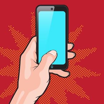 Mokup in popart-stijl met smartphone in de hand