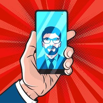 Mokup in popart-stijl met trendy smartphone-ontwerp