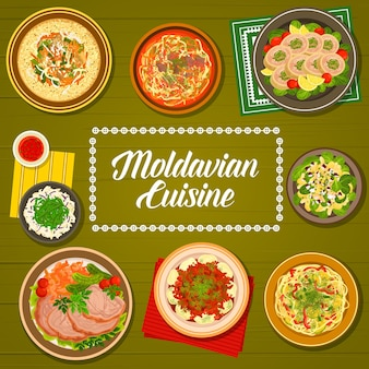 Moldavische menukaart, moldavische gerechten en traditionele diner- of lunchmaaltijden. oost-europese keukens, moldavische of moldavische nationale gerechten van kip, varkensvlees en gans, salades en goulash