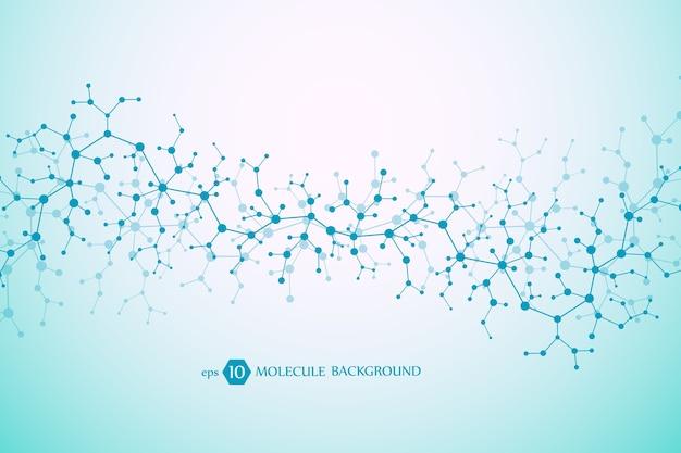 Moleculair concept van neuronen en zenuwstelsel. wetenschappelijk medisch onderzoek. molecuulstructuur met deeltjes. wetenschap en technologie achtergrond molecuul voor banner of flyer.
