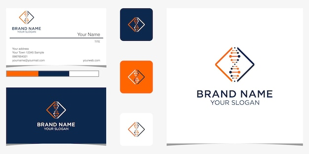 Moleculair dna-logo sjabloon en visitekaartje ontwerp