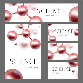 Moleculaire abstracte identiteitsset. banner, blanco a4, visitekaartje. illustratie. atomen.