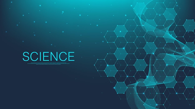 Moleculaire abstracte structuur en genetische manipulatie, gezondheidszorg en geneeskunde achtergrond. wetenschappelijke onderzoeksachtergrond. golfstroom, innovatiepatroon. vector illustratie.