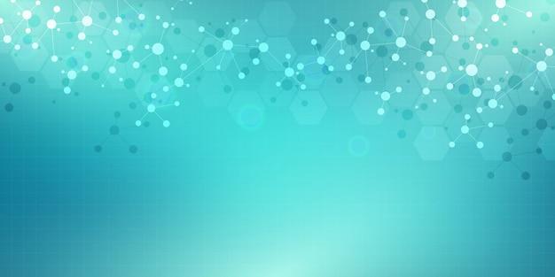 Moleculaire structuren en neuraal netwerk. moleculen dna en genetische manipulatie