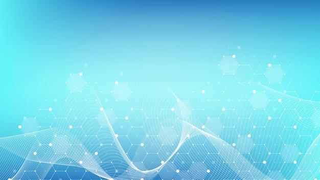 Moleculaire structuur achtergrond. wetenschap sjabloon behang of banner met een dna-moleculen. asbtract molecuul achtergrond met zeshoeken, golfstroom. vector illustratie.