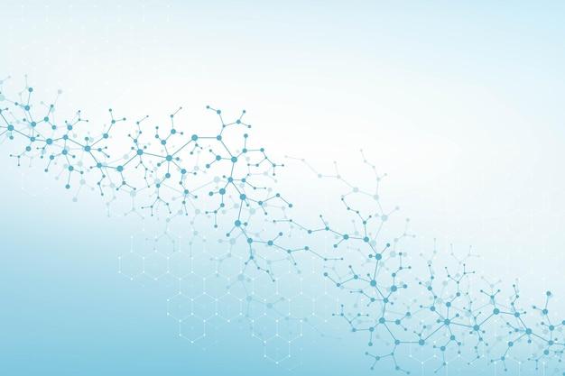Moleculaire structuur achtergrond. wetenschap sjabloon behang of banner met een dna-moleculen. trek wetenschappelijke molecuulachtergrond aan. golfstroom, innovatiepatroon. vector illustratie.