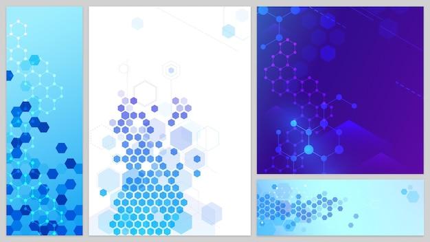 Moleculaire structuur banners set. verbindingslijnen en punten, zeshoeken abstracte technische achtergrond. wetenschapsnetwerk, medisch ontwerp voor website. futuristische geometrische moleculaire cellen vectorillustratie