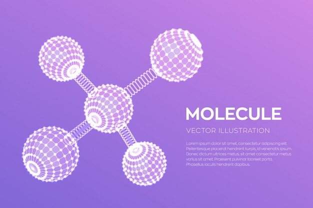 Moleculaire structuur. dna, atoom, neuronen. moleculen en chemische formules.