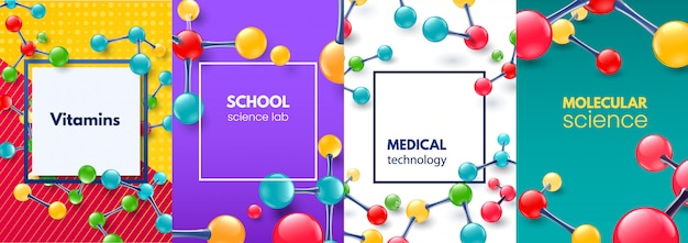 Moleculaire wetenschap banner. vitaminen molecuul, moderne medische wetenschappelijke frame en school science lab banners achtergrond set