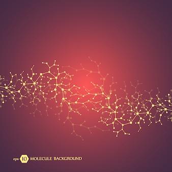 Moleculenconcept neuronen en zenuwstelsel. wetenschappelijk medisch onderzoek. moleculaire structuur met deeltjes. wetenschap en technologie achtergrond voor banner of flyer. eps 10 illustratie.