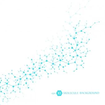 Moleculenconcept neuronen en zenuwstelsel. wetenschappelijk medisch onderzoek. moleculaire structuur met deeltjes. wetenschap en technologie achtergrond voor banner of flyer.
