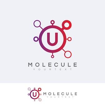 Molecuul eerste letter u logo ontwerp