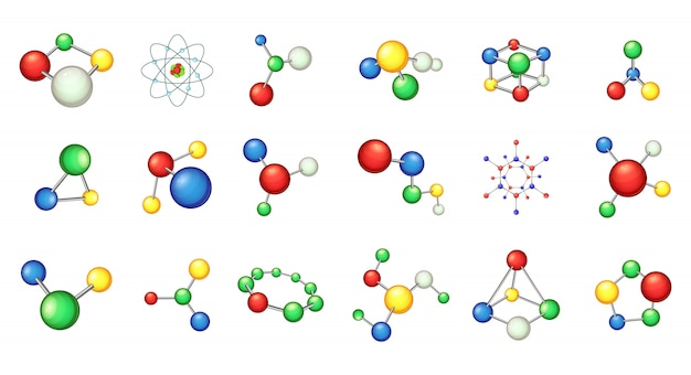 Molecuul elementenset. cartoon set molecuul vectorelementen