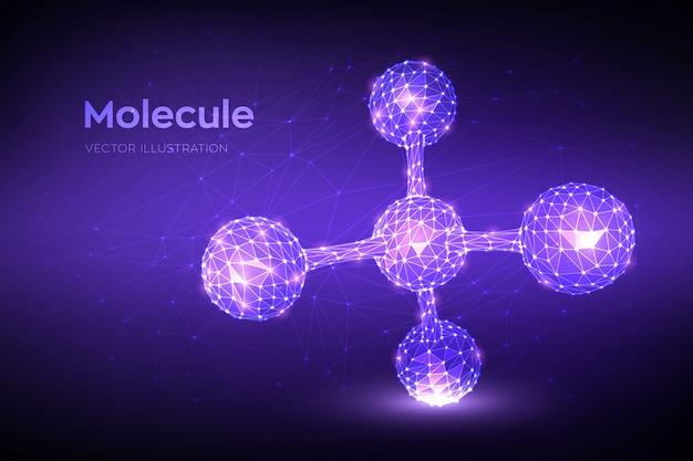 Molecuul-structuur. laag veelhoekig abstract molecuul. dna, atoom, neuronen.
