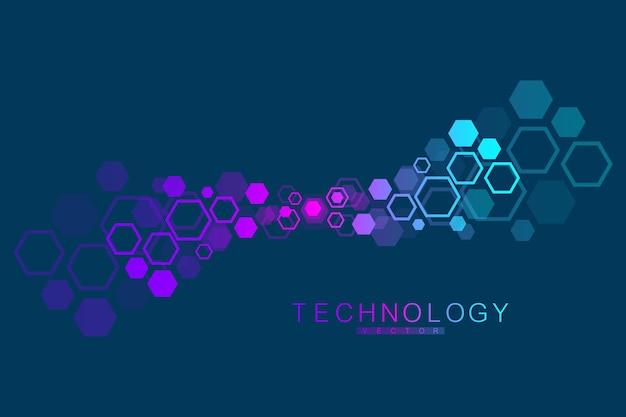 Molecuulstructuur met deeltjes. wetenschappelijk medisch onderzoek. wetenschap en technologie achtergrondgeluid. moleculair begrip. vector illustratie.