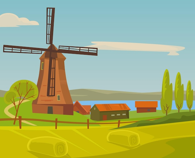 Molen boerderij landschap illustratie