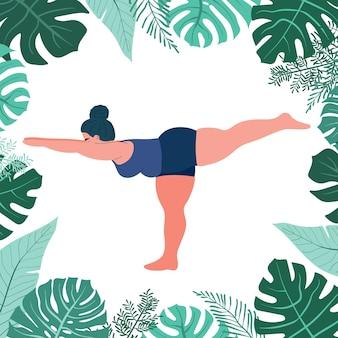 Mollige dikke vrouw doet yoga zelfliefde en lichaamspositief fitness en overgewicht f