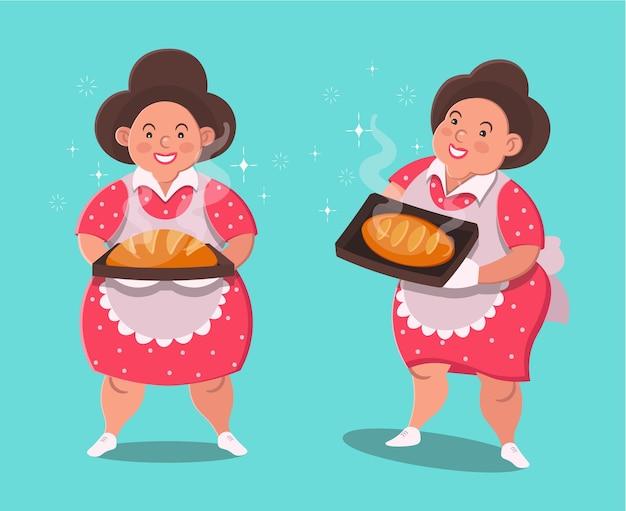 Mollige vrouw maakte brood. leuk karakter in vlakke stijl. vector illustratie.