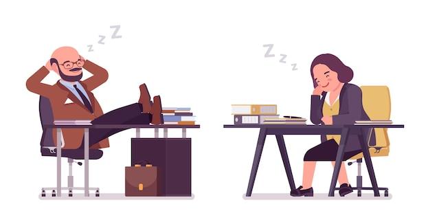 Mollige zware man en ronde vrouw met buik slapen